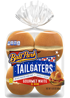 An 8-count package of Tailgaters Gourmet White XL Buns