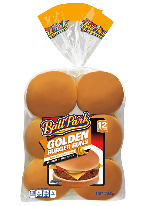 A 12-count package of Golden Hamburger Buns