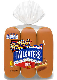 A six-count package of Tailgaters Brat XL Buns